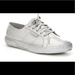 Superga 2750 Silver Glitter Patent Sneakers NIB!